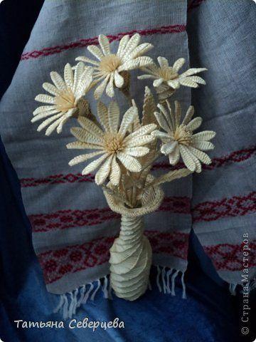 Поделка изделие Плетение Ромашки Соломка