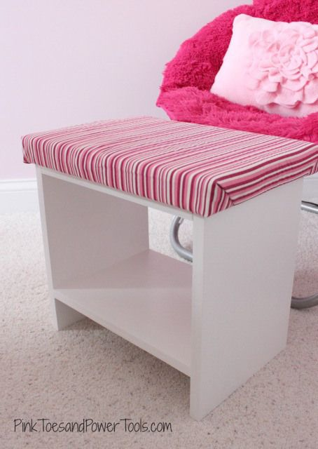 Scrap plywood upholstered footstool