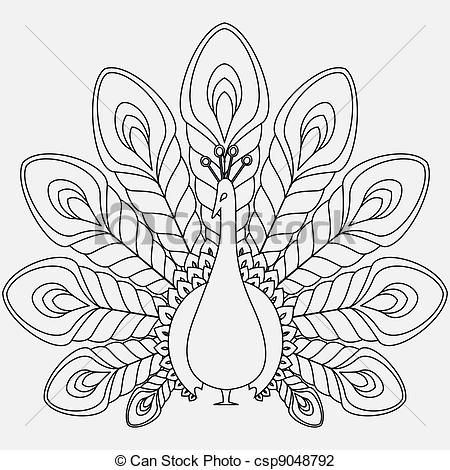 peacock line drawing | ... line art, EPS picture, pictures, graphic, graphics, drawing, drawings