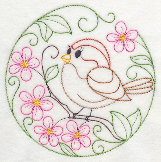 Embroidery: animals and flowers - birds - american tree sparrow and apple blossoms (free pattern)
