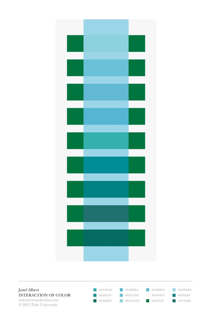 Color illusion in blues and greens, courtesy of the Interaction of Color app