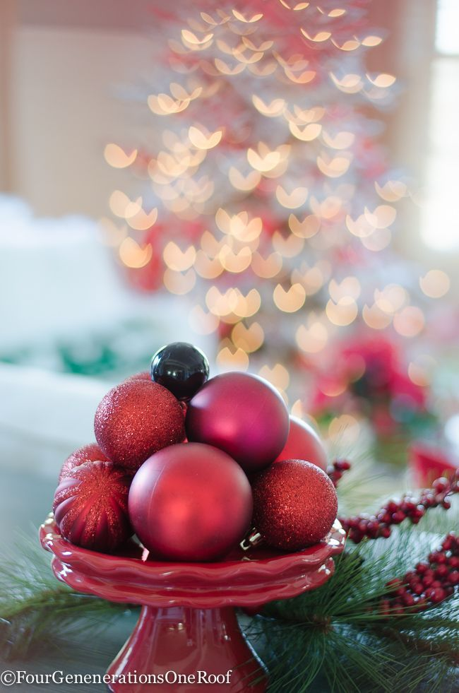 Fill A Bowl Or Dish With Ornaments   10 Minute Christmas Decorating Idea