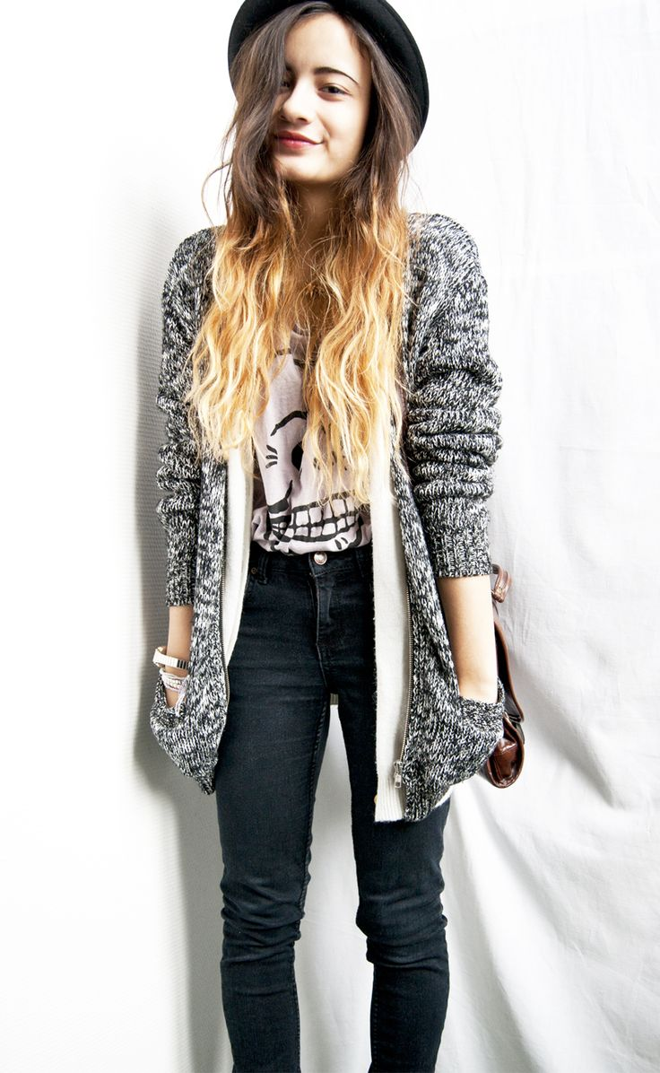 bowler hat, chunky cardi, skinny jeans, ombre hair