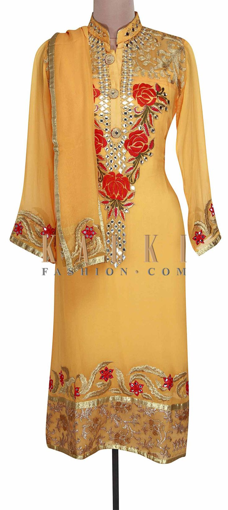 Buy Online from the link below. We ship worldwide (Free Shipping over US$100). Product SKU - 301007. Product Link - http://www.kalkifashion.com/yellow-semi-stitched-suit-embellished-in-mirror-and-zari-only-on-kalki.html