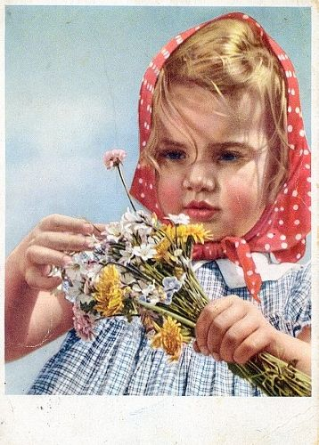 girl with flowers - soviet postcard