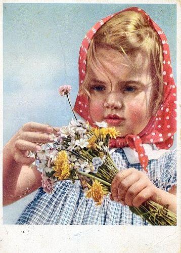 girl with flowers - soviet postcard