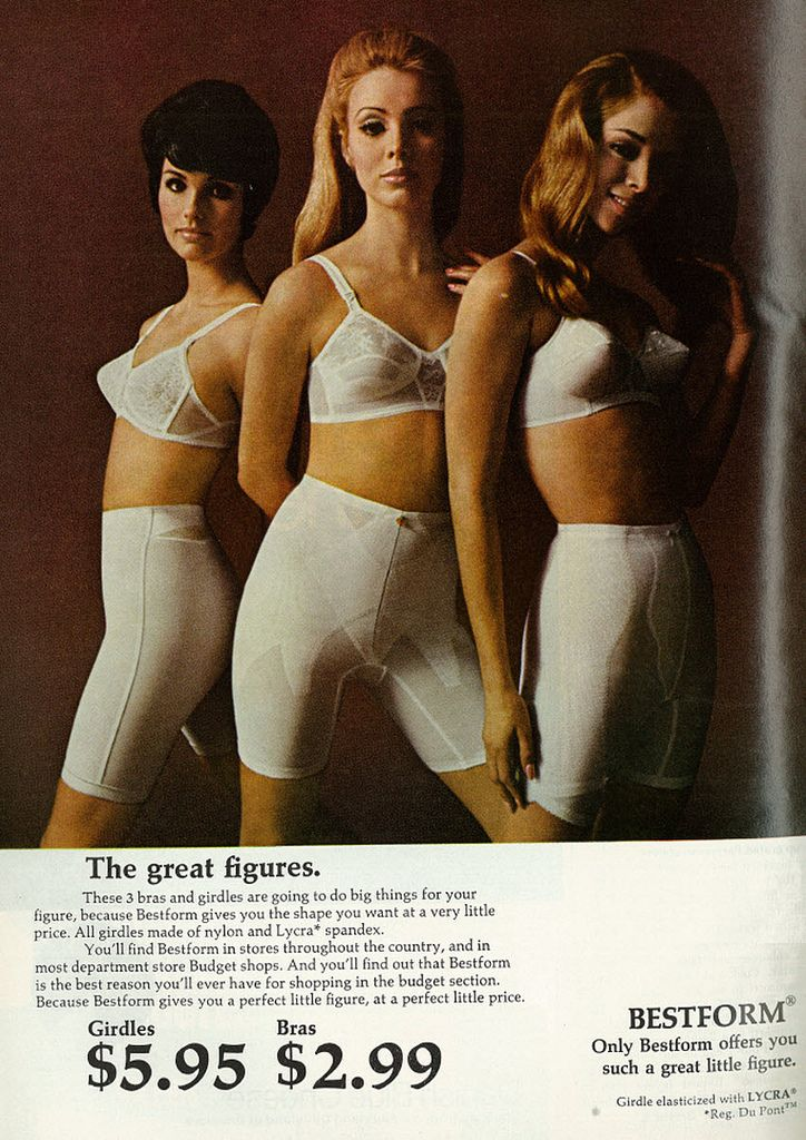 Lingerie fashion ad with shapely models bestform girdles bras