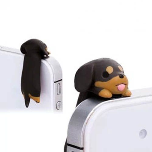 Adorable Black Brown Hanging Dachshund Dog Dust Plug 3.5mm Phone Accessory Charm Headphone Jack Earphone Cap iPhone 4 4S 5 iPad HTC Samsung