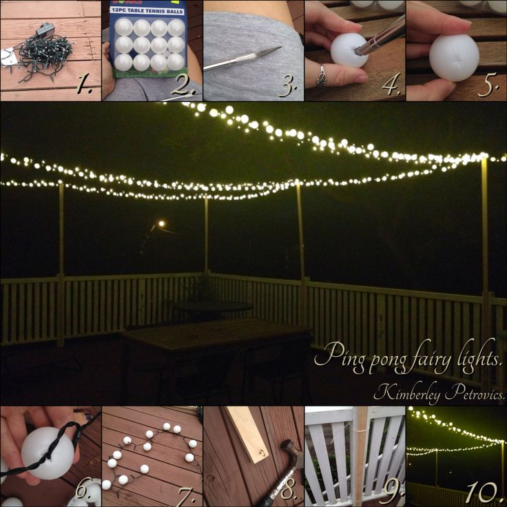 Outdoor ping pong fairy lights. Patio lights. Balcony lights.