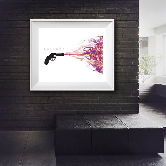 Gun Art  Police Bulldog  Bang  Splat  Minimalist by MinimalDigital