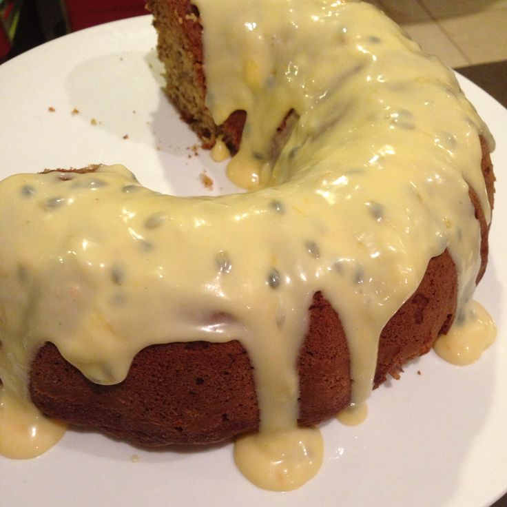 Passion fruit iced butter cake