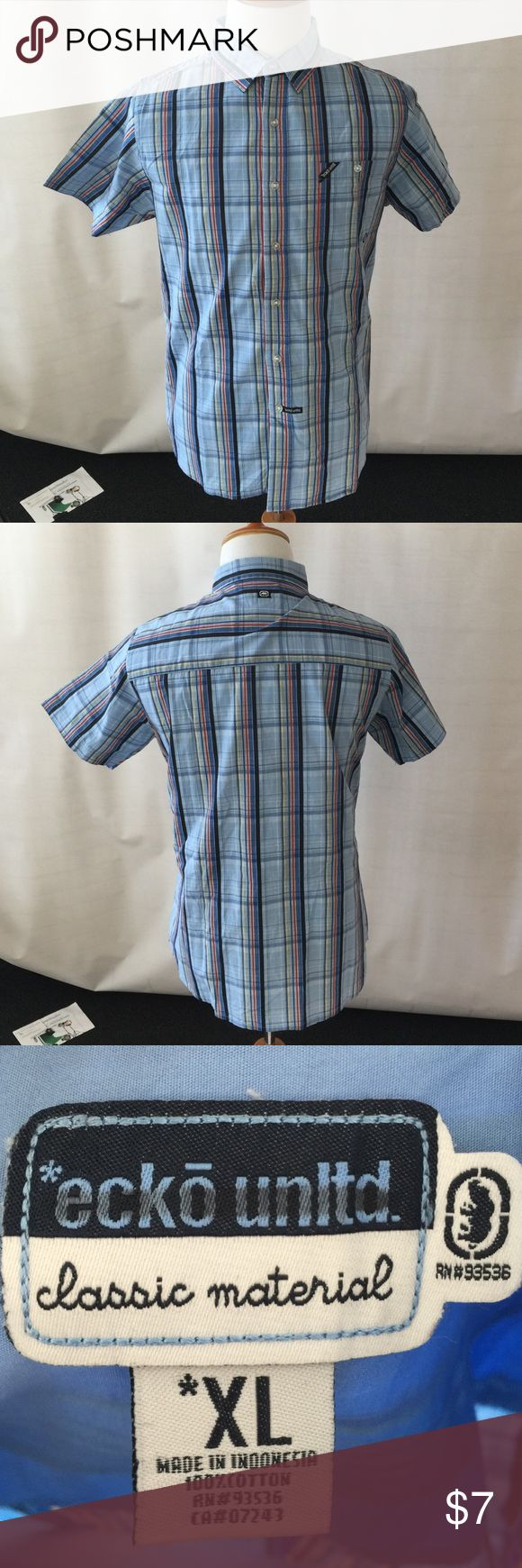 Men Short-sleeved Striped Blue Buttoned-Down Shirt Short-sleeved Striped Blue Buttoned-Down Shirt. Cool and stylish. Gently used. No tear/stain. Label says XL but fits more like an L. Ecko Unlimited Shirts Casual Button Down Shirts