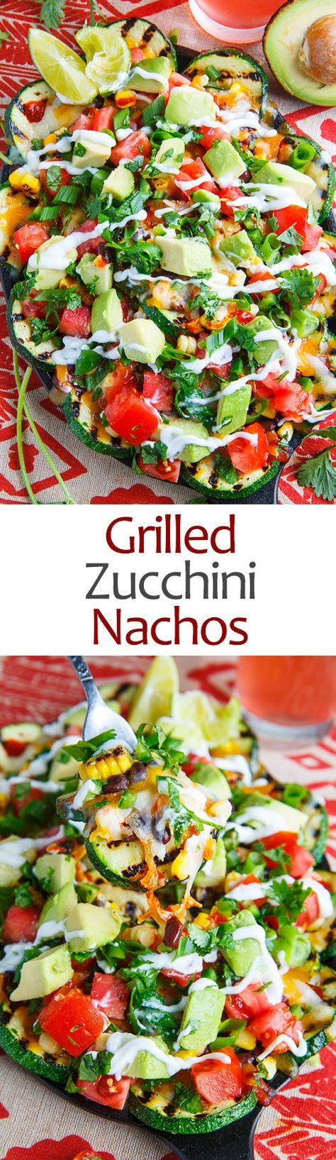 Grilled Zucchini Nachos. Fresh grilled zucchini served nacho style topped with corn, tomatoes, beans, avocado and plenty of melted cheese!