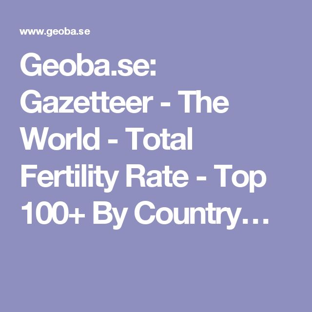 Geoba.se: Gazetteer - The World - Total Fertility Rate - Top 100+ By Country…