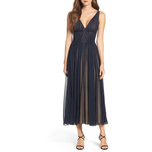 Women's Vera Wang Chiffon Fit & Flare Dress (76.015 HUF) ❤ liked on Polyvore featuring dresses, navy nude, tea-length dresses, navy blue fit and flare dress, navy dresses, pleated chiffon dress and flared dresses