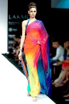 Satya Paul - A digital printed sari in georgette $270
