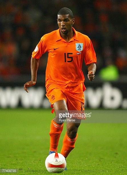 Ryan Babel of the Netherlands in action during the Euro 2008 Group G qualifying match between The Netherlands and Slovenia at Philips Stadium on...