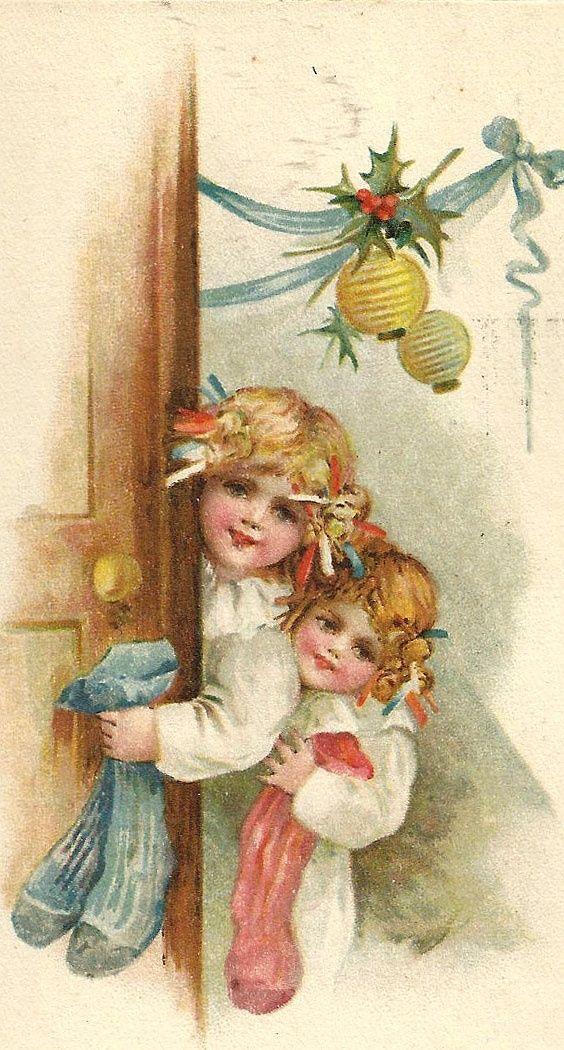 Открытки с рождеством старинные детские