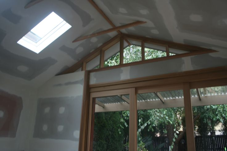 Inside you'll note the exposed Oregon ridge beam and collar ties and the Velux skylights.