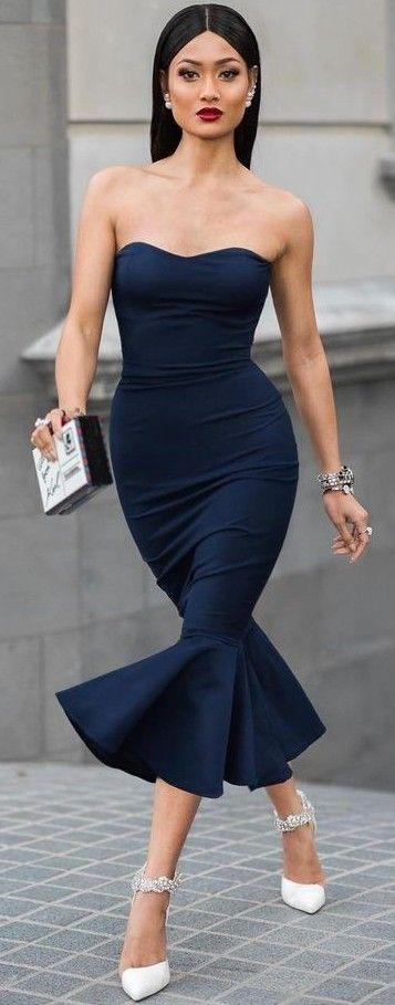 #Street #Fashion | Navy Strapless Gown, White Pumps |Micah Gianneli