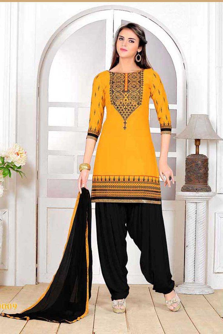 Yellow Cotton Punjabi Suit