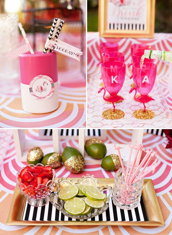 pink and gold flamingo cocktails