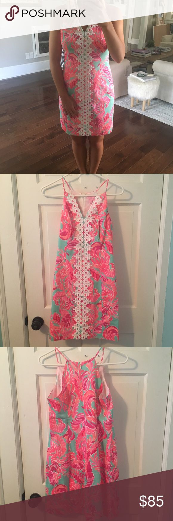 Lilly Pulitzer dress Gorgeous printed pink and blue Lilly Pulitzer dress size 4. Never worn and new with tags!! Lilly Pulitzer Dresses