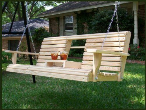 5 Feet Ft FLIP CUP HOLDER CONSOLE Cypress Lumber ROLL BACK PORCH SWING made from Rot-resistant Cypress Eternal Wood Made in the USA - Green Furniture - GO GREEN - http://rustic-touch.com/5-feet-ft-flip-cup-holder-console-cypress-lumber-roll-back-porch-swing-made-from-rot-resistant-cypress-eternal-wood-made-in-the-usa-green-furniture-go-green/