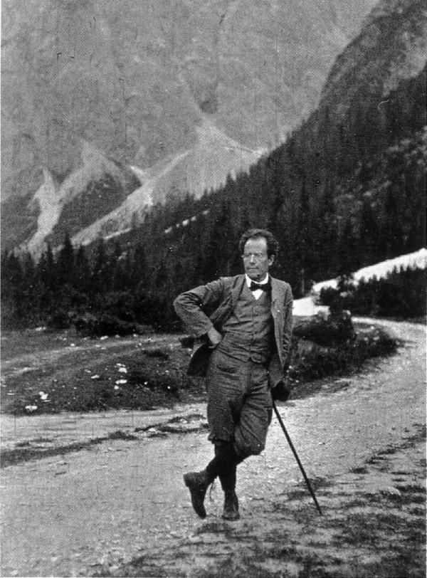 Gustav Mahler looking dapper in the mountains.