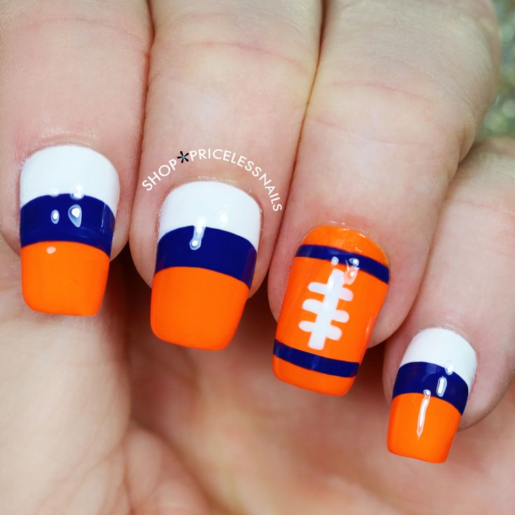 Denver Broncos football nails ✨