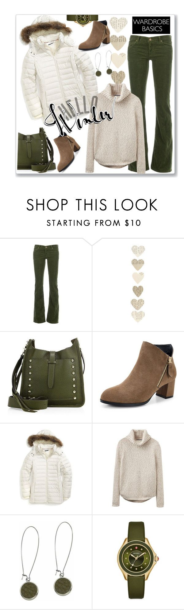 """""""Olive and Cream Winter"""" by ahapplet ❤ liked on Polyvore featuring Golden Goose, Rebecca Minkoff, Tommy Hilfiger, Joules, N'Damus, Michele, puffer and ahapplet"""