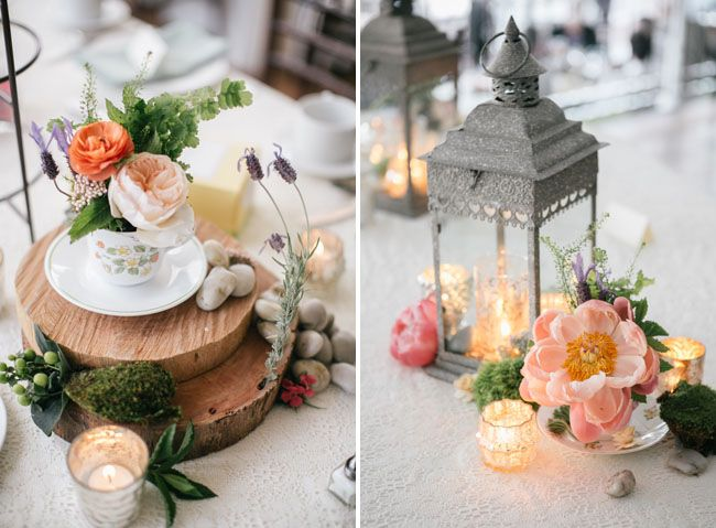 Moss and teacup centerpiece. Bohemian-vintage tea party wedding. Emily Wren photography. Venue: the Manor at Prophecy Creek Ambler, Pennsylvania