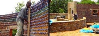A primeira casa totalmente feita com garrafas plásticas está sendo atualmente construída na Nigéria. As garrafas são colocadas junto com lama e cimento, criando um material mais forte que o bloco de concreto. A casa é à prova de balas, de fogo, resistente a terremotos e ainda capaz de manter uma temperatura interior confortável de 17ºC o ano inteiro.  energia solar, fazendo com que a energia se torne autônoma.