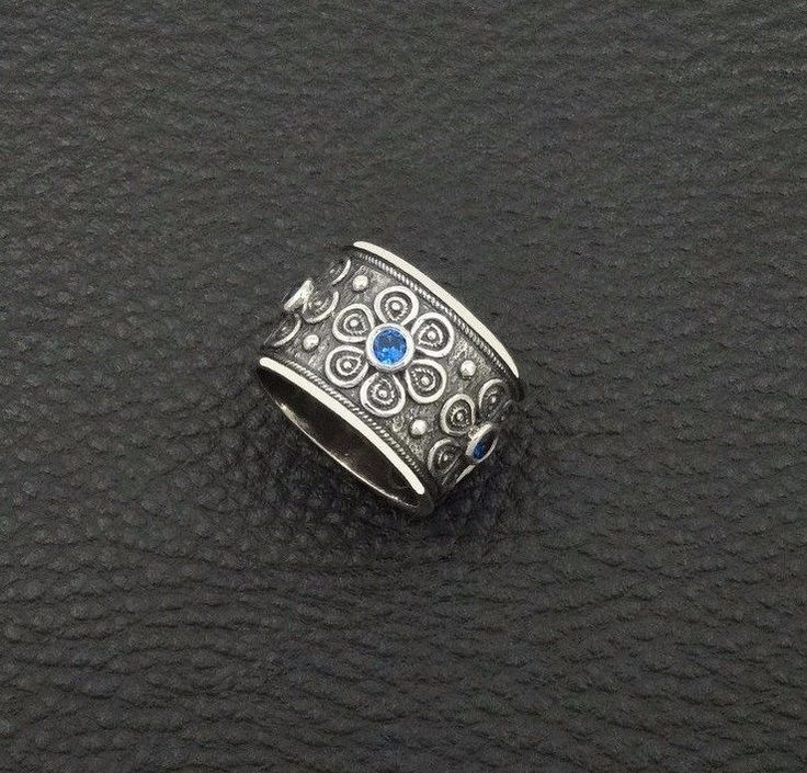 LUXURY SAPPHIRE CZ BYZANTINE STYLE 925 STERLING SILVER GREEK HANDMADE ART RING #IreneGreekJewelry #Band
