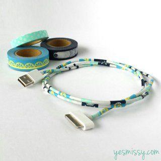 Des câbles avec des rayures au masking tape - Marie Claire Idées