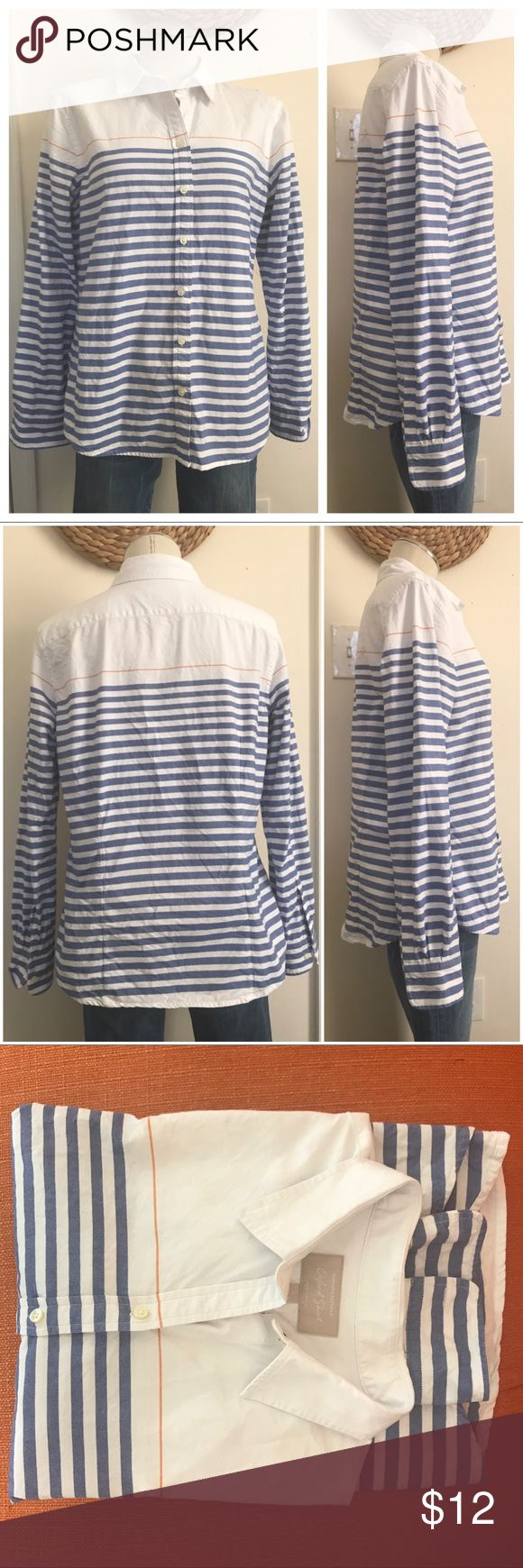 "BR oxford shirt EUC Shoulders 17"" Bust 20"" Length 25"" No Holes stains tears etc. has all buttons fabric is 100% cotton medium weight. Blue and white nautical stripe and Banana republic women's button up oxford shirt Banana Republic Tops Button Down Shirts"