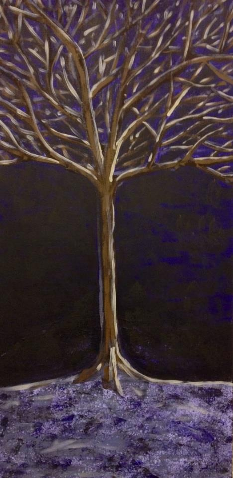 """Tree"" by Sandy Lawson and Stephen Lu (c) 2013. Acrylic on Canvas. 33"" x 18""."