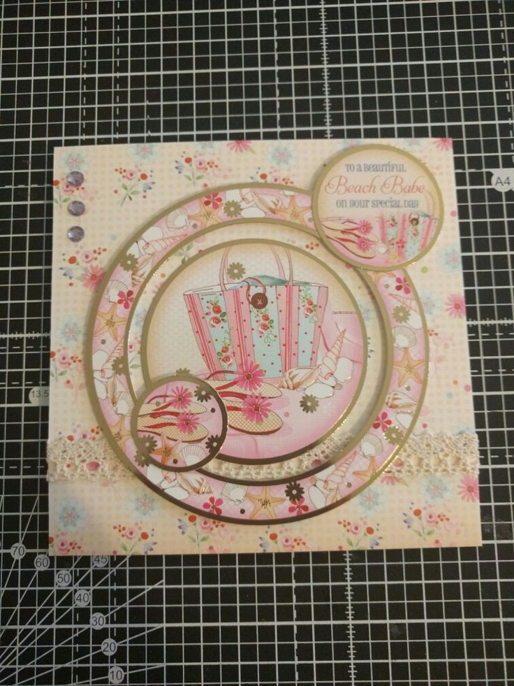 """Hunkydory Crafts Sun, Sea and Sandcastles Collection. Beach bag card, """"to a beautiful beach babe on your special day"""""""