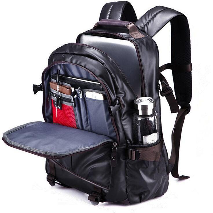 Men PU Leather Functional Backpack Universal Laptop Backpack   men women  bags fashion