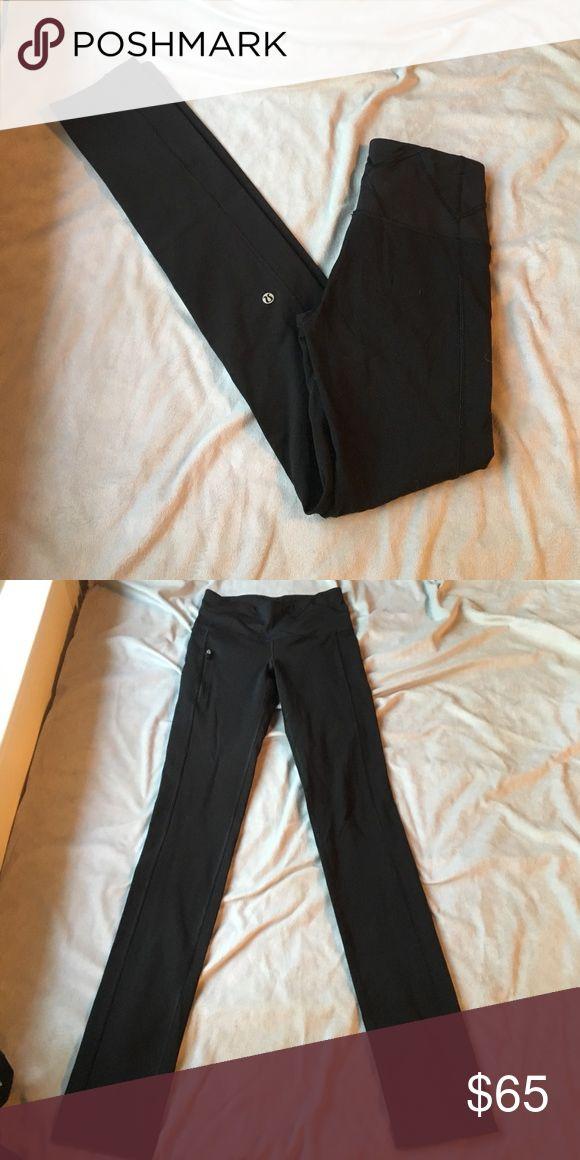 Black full length Lululemon leggings Very cute Lululemon leggings with a zipper pocket on the front as well as two pockets in the waistband. I ❤️ offers! lululemon athletica Pants Leggings
