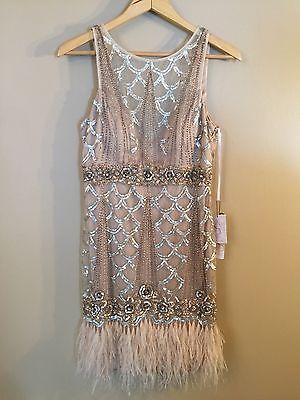 Новый с ценниками Sue Wong Gatsby шампанское с бисером блестки перо вечернее свадебное платье размер 10