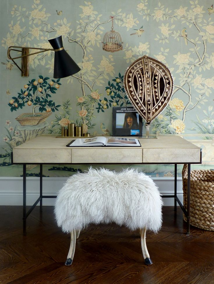 Elegant Eclectic Office Area Love That Chinoiserie Wallpaper The Fur Stool And Badass Painted WallpaperInterior Design