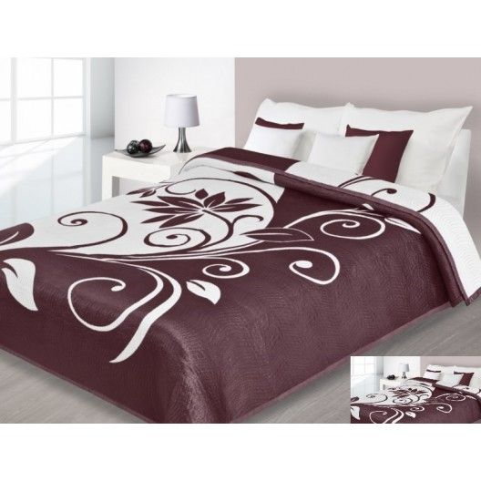 Luxusný obojstranný prehoz na posteľ hnedý s bielym kvetom