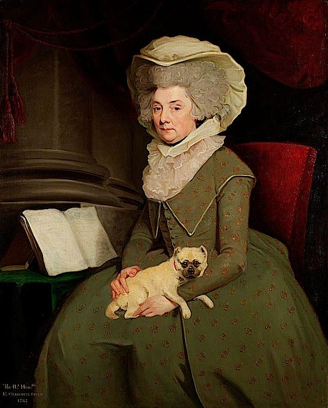 1787 Lady Charlotte Finch (1725–1813), née Fermor Governess to the Children of King George III by William Hopkins (UK Government Art Collection) bbc.co