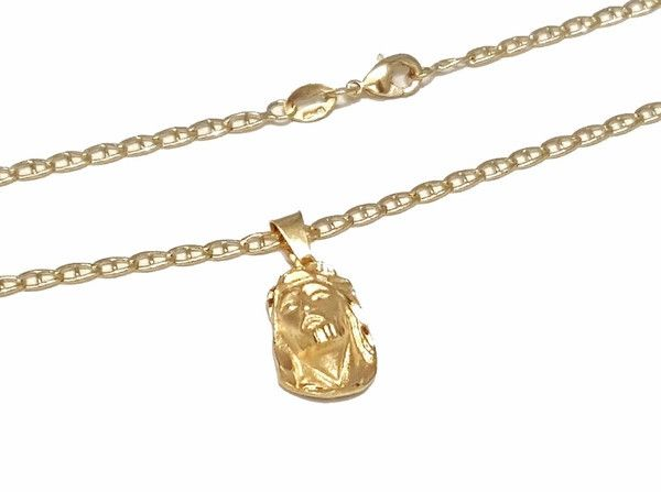 1-2235-1848-f7 18kt Brazilian Gold Layered Kids Jesus Face Diamond Cut Pendant with 14 inch Marine Link Chain.