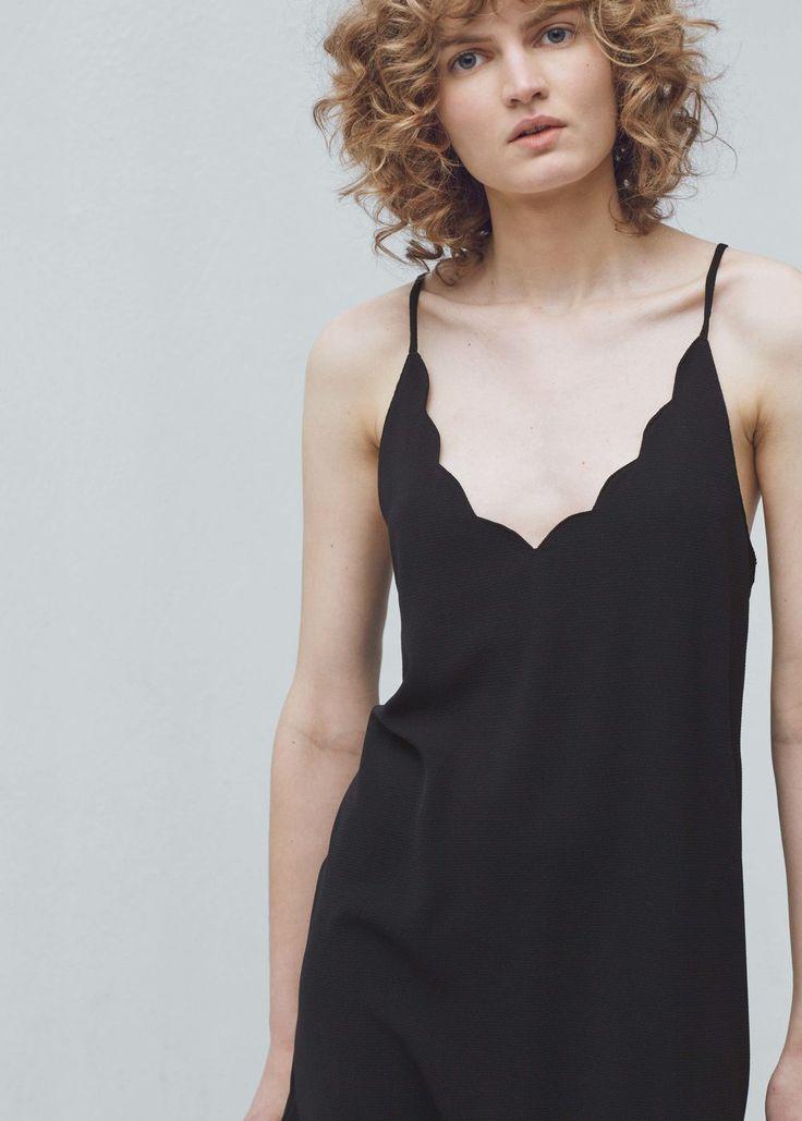 Getextureerde jurk met schouderbandjes -  Dames | MANGO Nederland