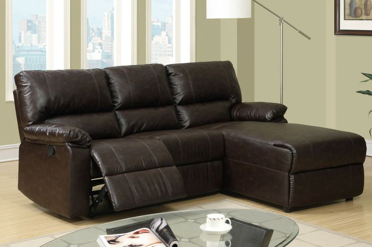Small Coffee Leather Reclining Sectional Sofa Recliner