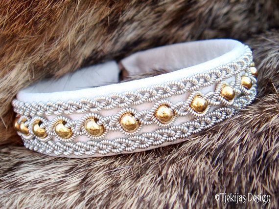 Sami Bracelet YDUN Lapland Swedish Viking Jewelry Bracelet Custom Handmade in White Reindeer Leather, 14K Goldfilled Beads and Pewter Braids.
