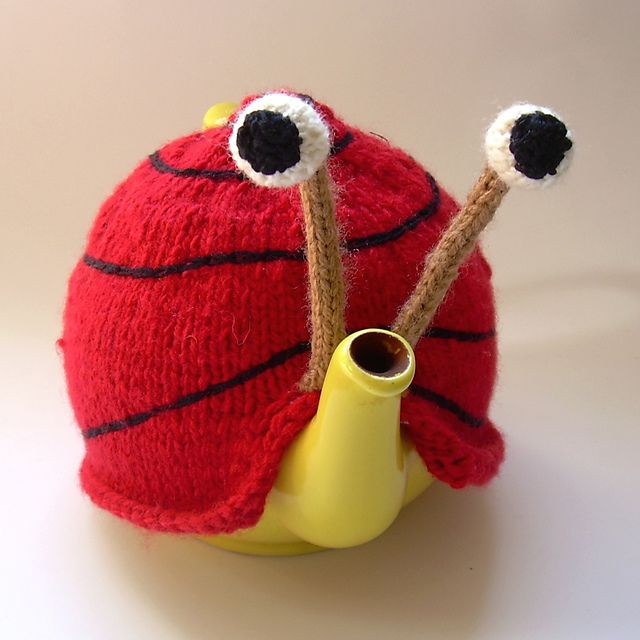 if you like wild tea cozies....check out Snail tea cosy pattern by Anke Klempner