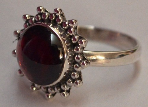 925 Sterling Silver Ethnic Ring 10mm Red Garnet: Crimson Wave